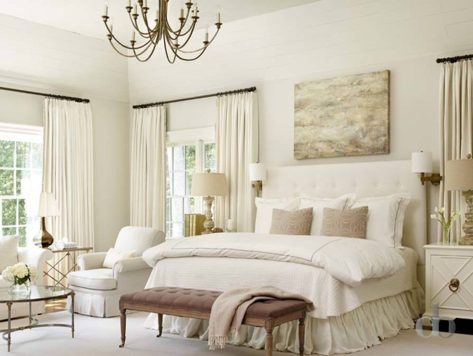 35 comfortable bedroom designs for relaxing roundecor - Beige and white bedroom curtains ...