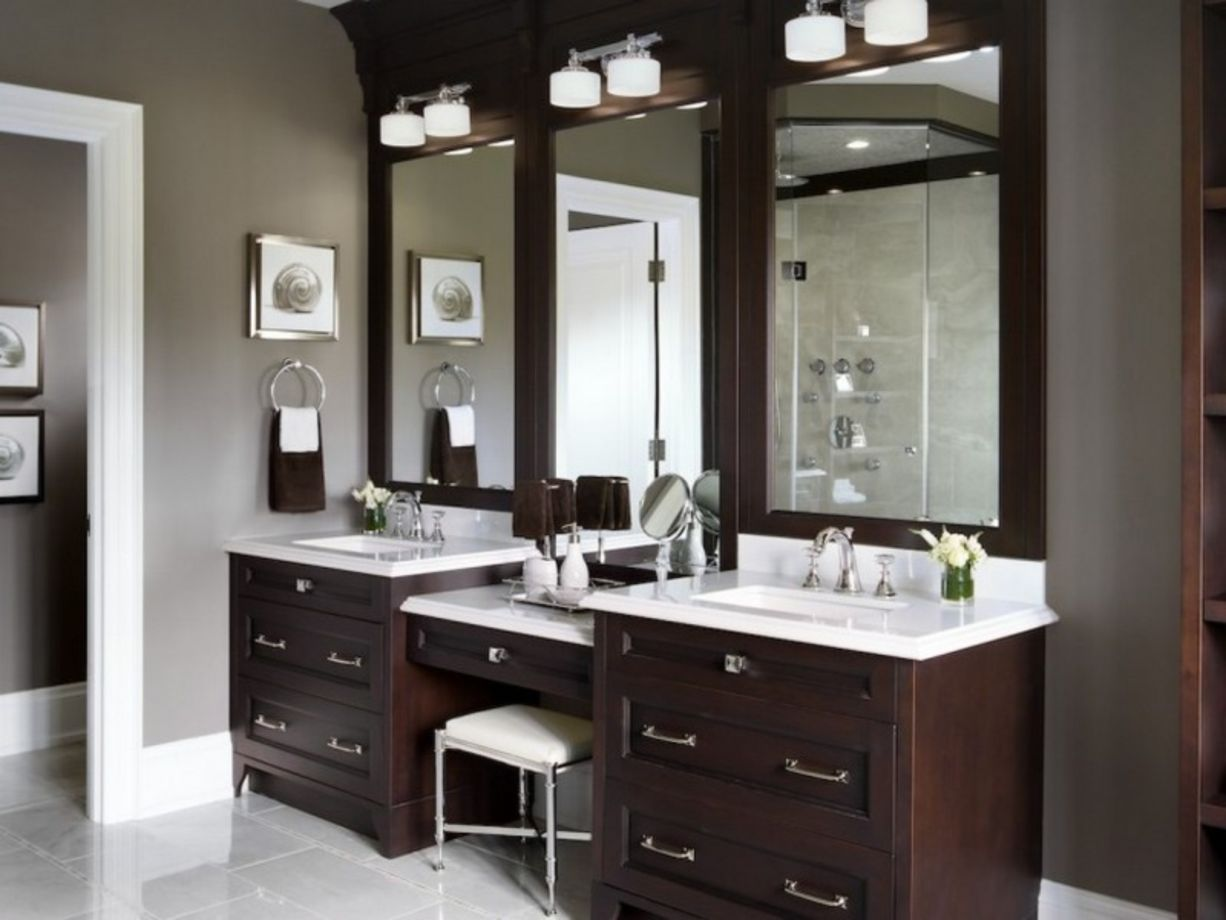 60 bathroom vanity ideas with makeup station round decor. Black Bedroom Furniture Sets. Home Design Ideas