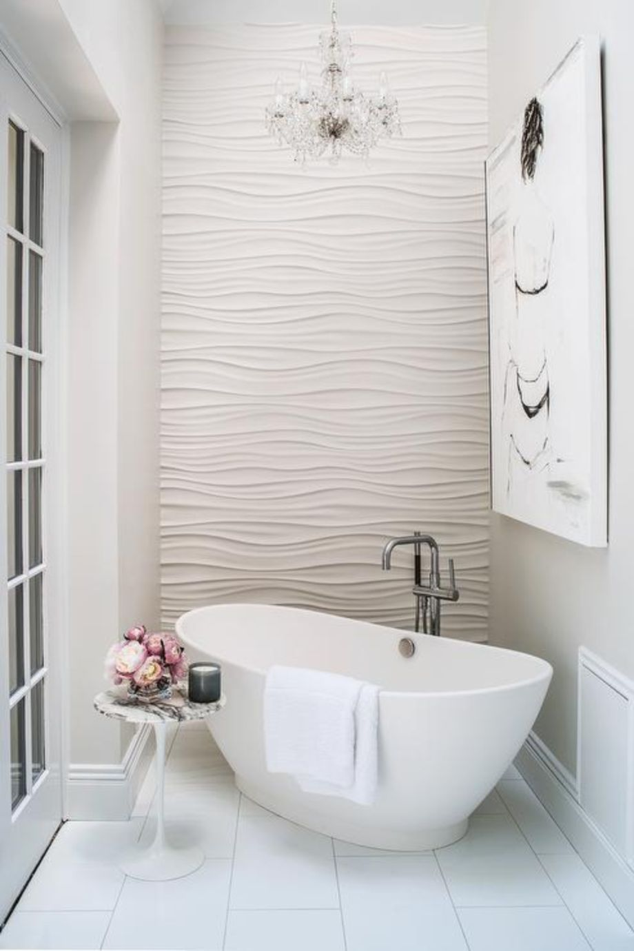 Stylish white subway tile bathroom 42 - Round Decor
