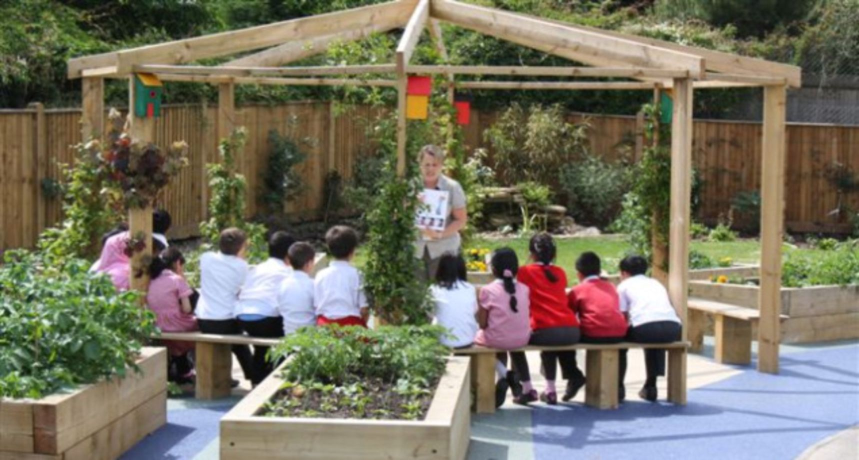 Outdoor Classroom Design Ideas ~ Cute and simple school garden design ideas round decor