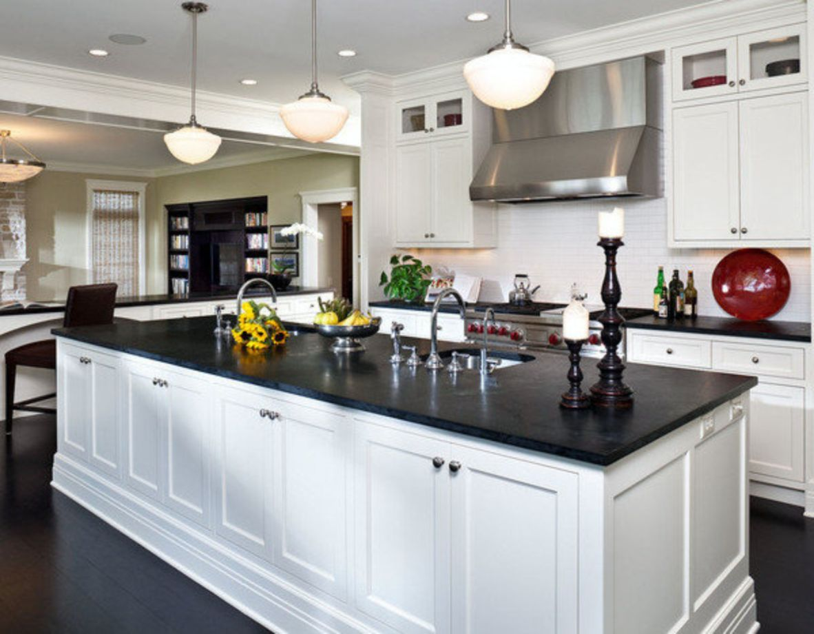 55 inspiring black quartz kitchen countertops ideas for Kitchen counter decor