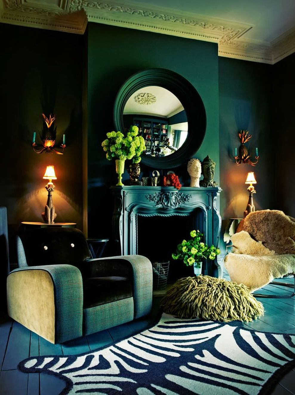 Living Room Design Green: Stylish Dark Green Walls In Living Room Design Ideas 26