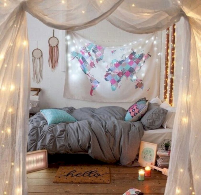 Cozy bohemian teenage girls bedroom ideas (54)