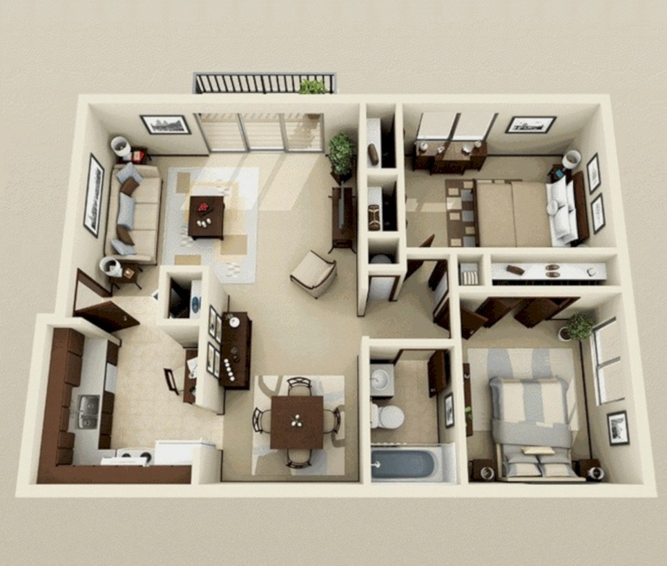 Creative two bedroom apartment plans ideas 56