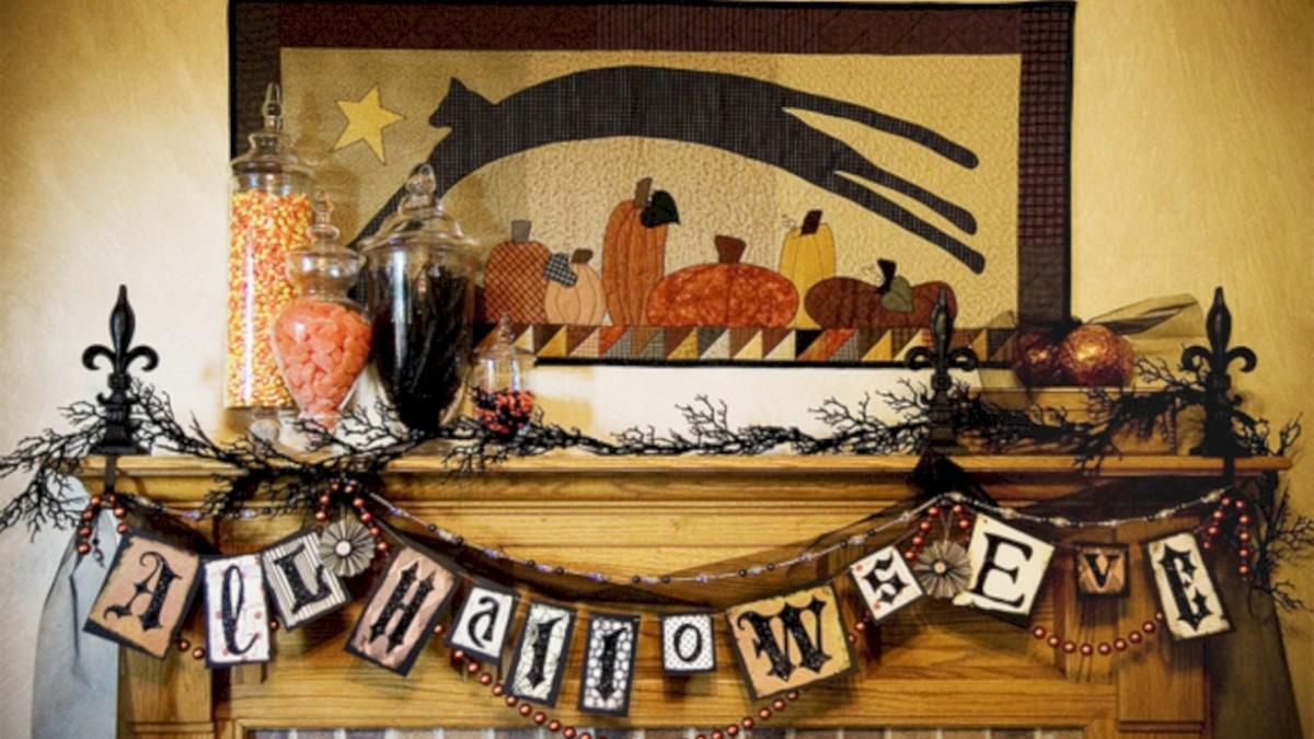 Great halloween mantel decorating ideas 22