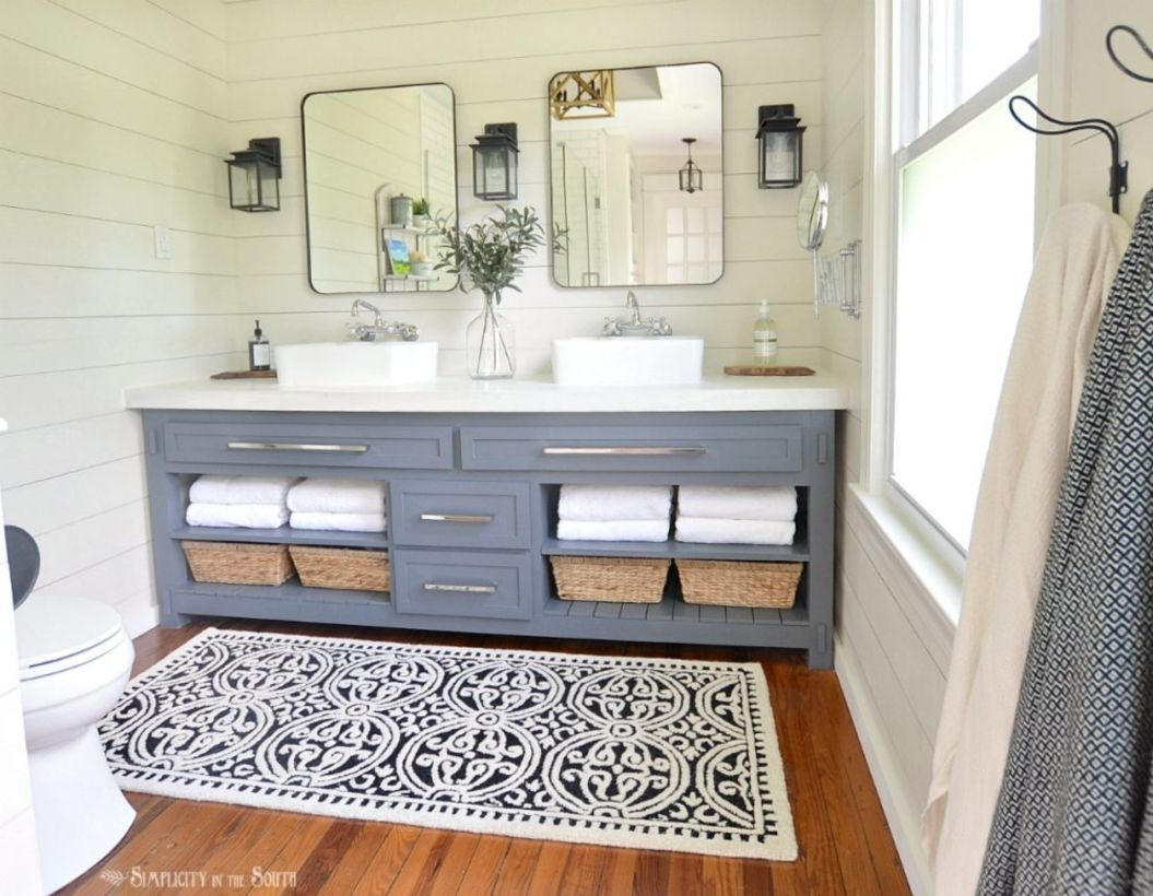 46 Paint Colors Farmhouse Bathroom Ideas - Round Decor