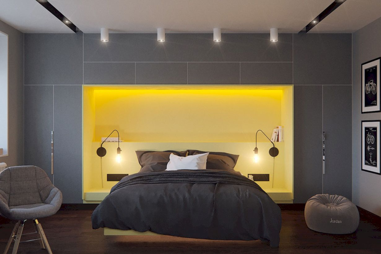60 visually pleasant yellow and grey bedroom designs ideas round decor. Black Bedroom Furniture Sets. Home Design Ideas