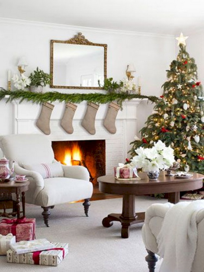 published november 19 2017 at 820 1093 in 44 elegant white fireplace christmas decoration ideas - Elegant White Christmas Decorations