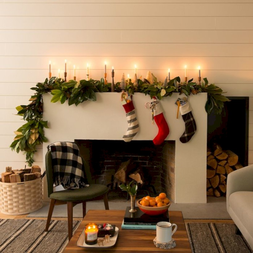 modern farmhouse fireplace christmas decoration ideas 16