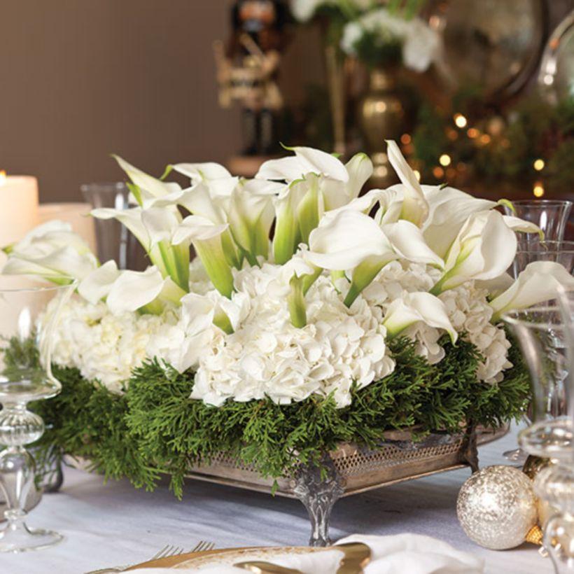 Totally adorable white christmas floral centerpieces