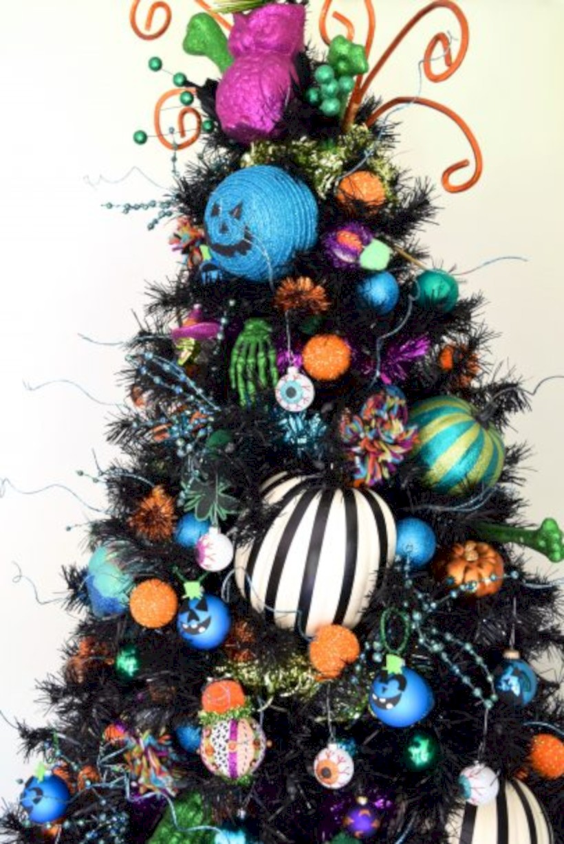 unusual black christmas tree decoration ideas 05 - How To Decorate My Black Christmas Tree