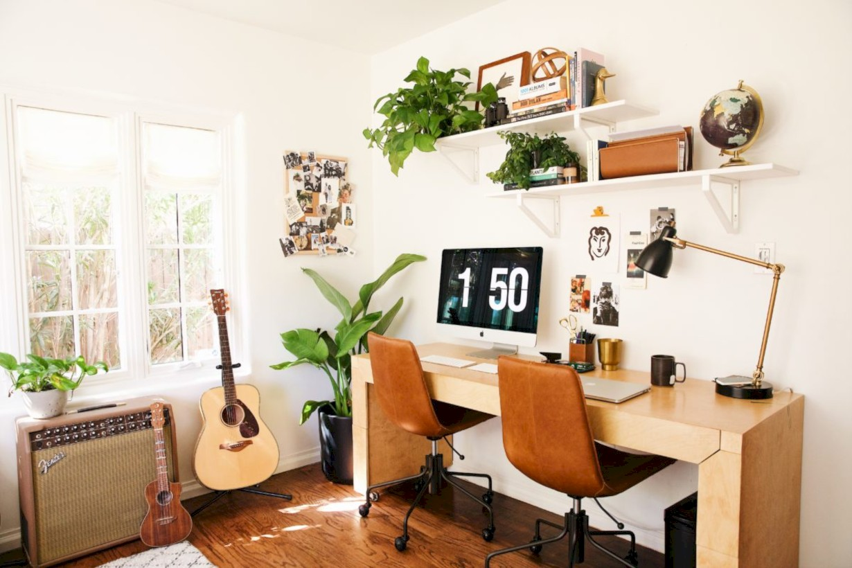 Charming Vintage Home Office Decoration Ideas 43