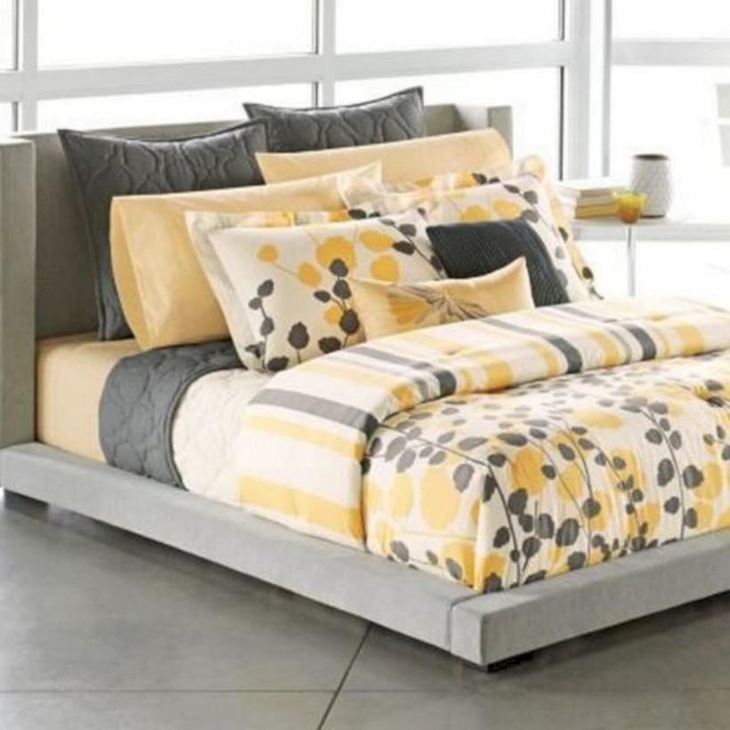 Comfy grey yellow bedrooms decorating ideas (46)