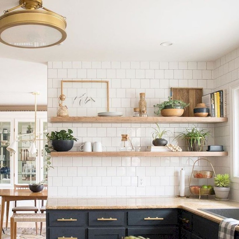 Creative kitchen open shelves ideas on a budget 09