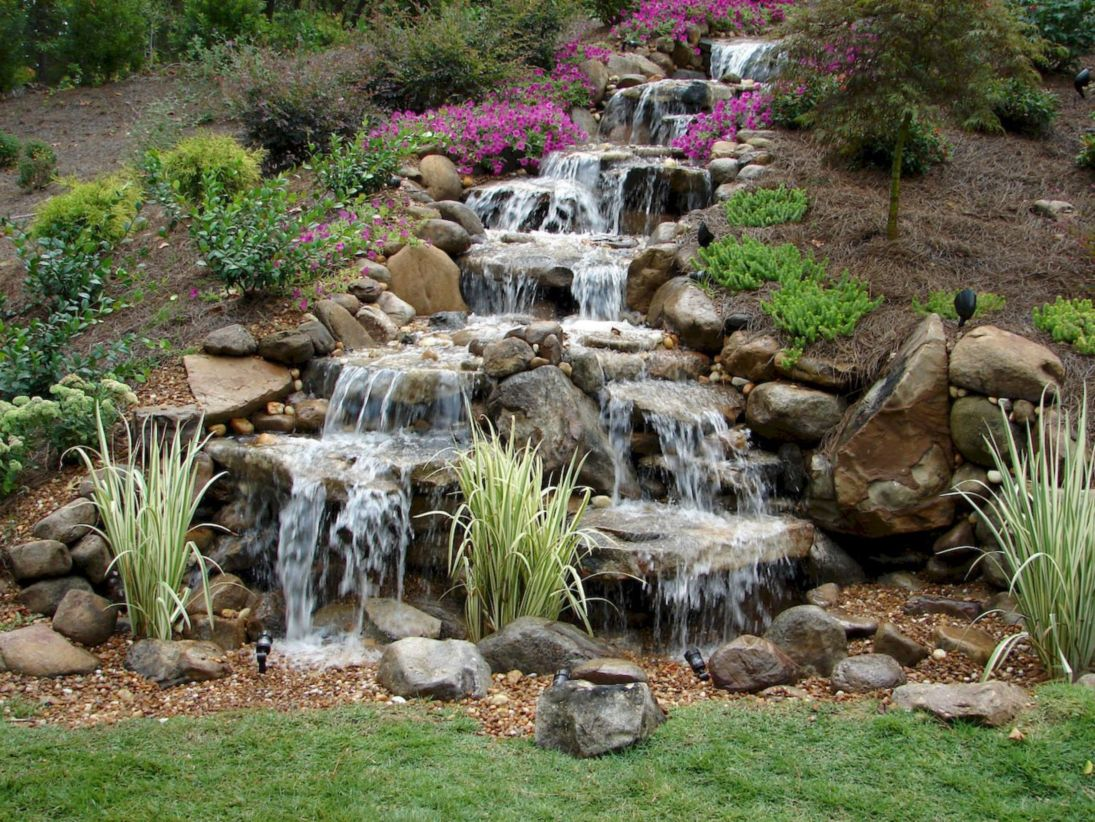 46 Small Backyard Waterfall Design Ideas - Round Decor