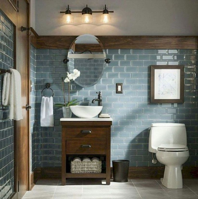 45 Gorgeous Farmhouse Master Bathroom Decorating Ideas
