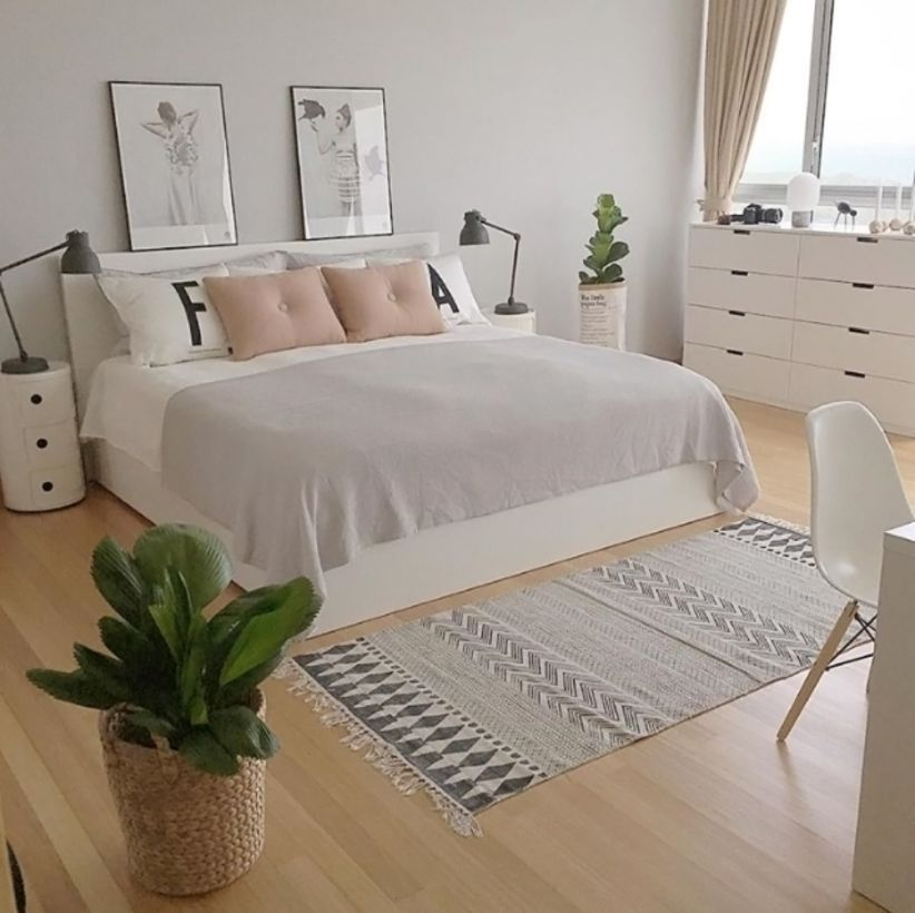 Gorgeous minimalist elegant white themed bedroom ideas 39