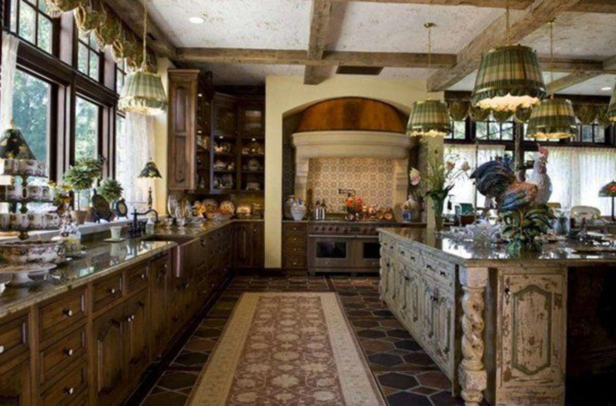 Popular modern french country kitchen design ideas 55