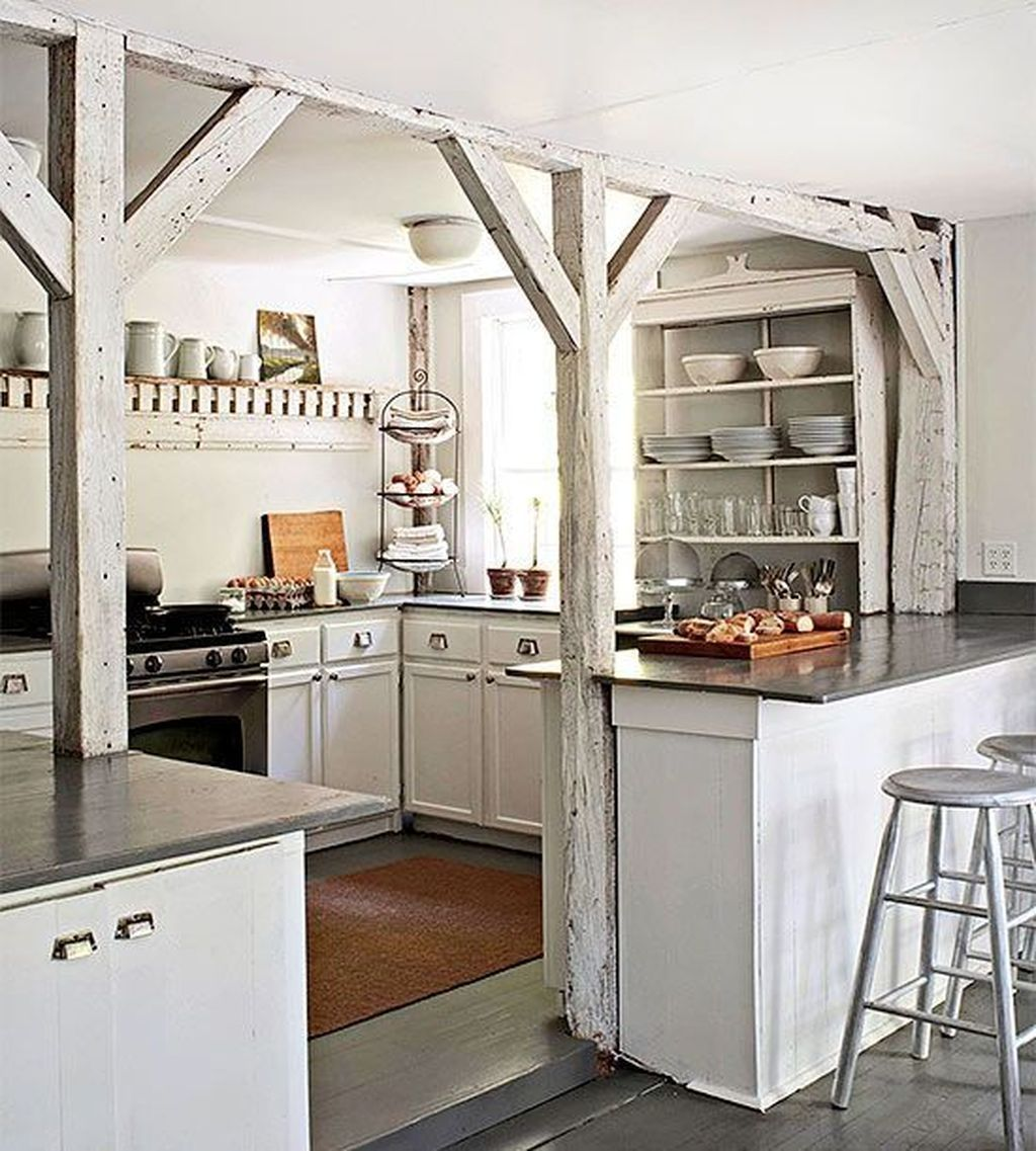 Stylish modern farmhouse kitchen makeover decor ideas 50