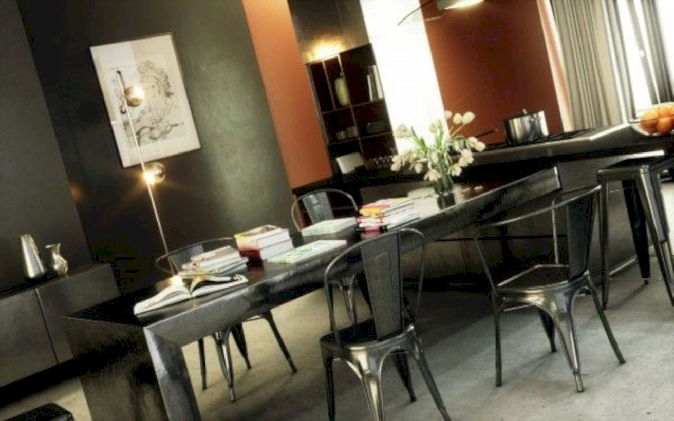 Elegant industrial metal chair designs for dining room 23