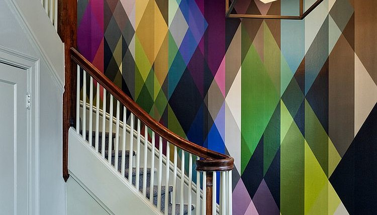 Circus-wall-panel-wallpaper-adds-color-to-the-staircase-design