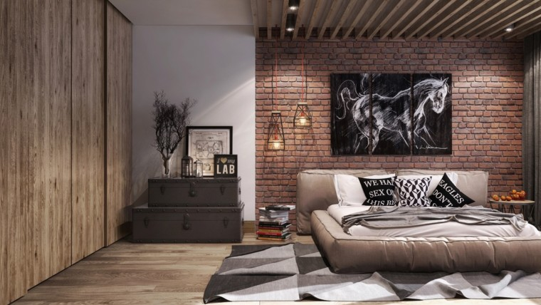 Exposed-brick-wall-industrial-bedroom-furniture
